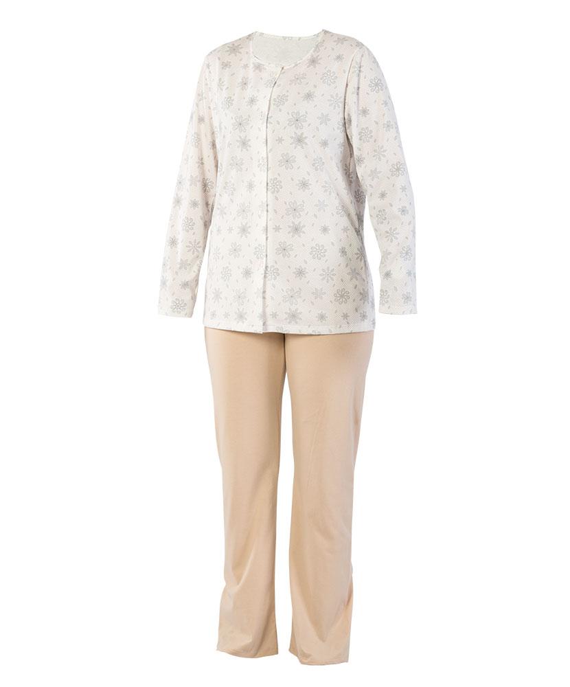 Dámské pyžamo Agáta - šedý tisk na béžové