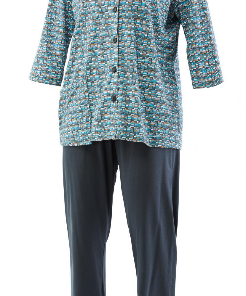 Dámský domácí oblek Drahuše - šedotyrkysový tisk