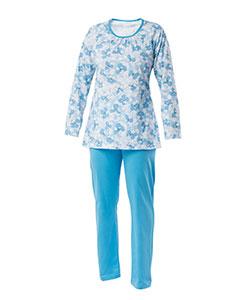 Dámské pyžamo Libuše D modrobílý tisk