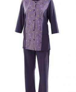 Dámský domácí oblek Sára fialovo-zelený tisk
