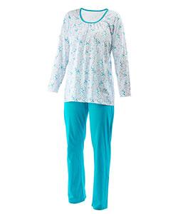 Dámské pyžamo dlouhý rukáv Liběna zelenomodrá