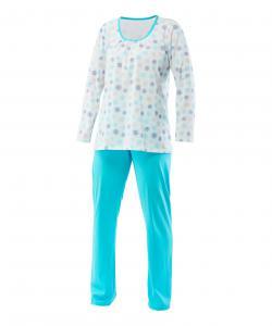 Dámské pyžamo Liběna tyrkysový tisk na bílé