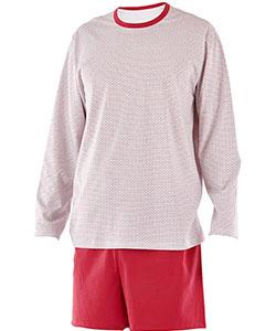 Pánské pyžamo Matěj drobný trojúhelník červený