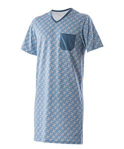 Pánská noční košile krátký rukáv Karel modrošedá