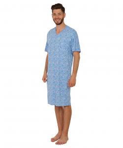 Pánská noční košile krátký rukáv Karel světle modrý budík