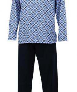 Pánské pyžamo dlouhé Emil tmavě modrý tisk