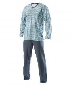 Pánské pyžamo dlouhé Emil šedotyrkysový tisk