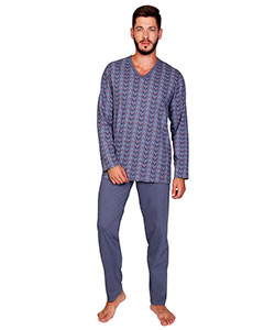 Pánské pyžamo dlouhé Emil kostka na šedé