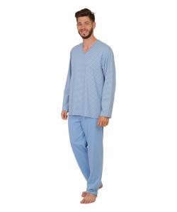 Pánské pyžamo dlouhé Emil vzor na modré