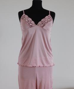 Dámská souprava Mirka růžová-jednobarevná krajka