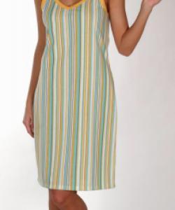 Dámské šaty Mahulena modrožlutý proužek