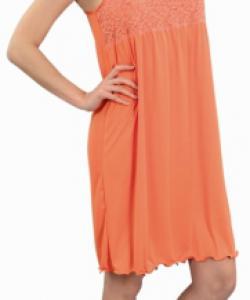Dámská noční košile Lucka oranžová-jednobarevná krajka