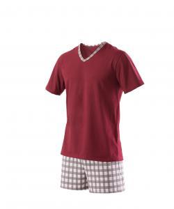 Pánské pyžamo Vašek vínovošedá  kostka