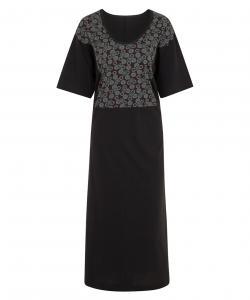 Dámské šaty Aneta tyrkysový tisk na šedé
