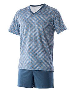 Pánské pyžamo Jakub modrošedá mozaika