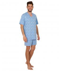 Pánské pyžamo Jakub světle modrý budík